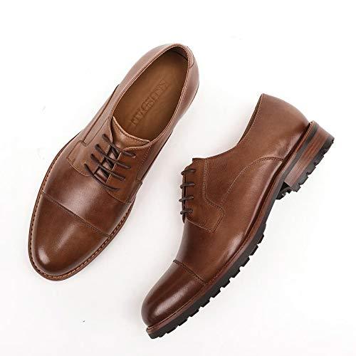 Ocasionales Estilo Del Hombres Zapatos color Los Mano Brown Brown Para Oxford Size Cuero eu Tamaño Simple 40 A Hechos De Xzp Vintage Diseñador Clásico Más xCzIqwUU