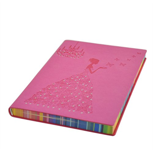 (VIGOROSO Elegant Note Book Notebook PU Leather Journal Writing Paper Butterfly Girl 200 Pages Colored Paper Edge (Pink) )