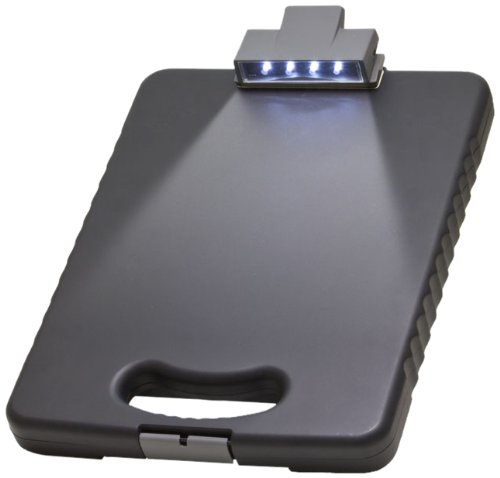 Officemate OIC Deluxe Letter/A4 Size Tablet Clipboard Case with LED Light, Charcoal -