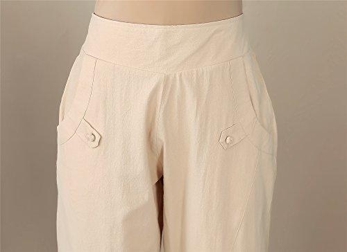 di Pantaloni alta casual cotone in vita con canapa tasche a elasticizzati gHAgwRzq