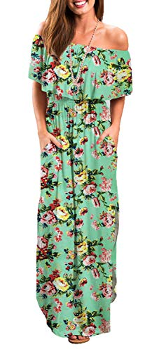 Othyroce Womens Off Shoulder Floral Casual Print Summer Long Dresses Green XS (Green Wedding Dress)