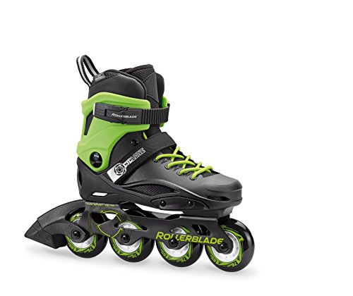 Rollerblade Cyclone Kid's Unisex Size Adjustable Inline Skate, Black and Acid Green, High Performance Inline Skates