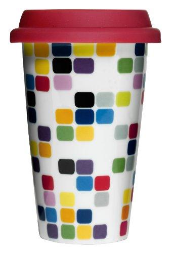 Sagaform 5015918 Double Wall Porcelain Pix Take Away Mug with Drip Proof Silicone Lid, Pix, - Mug Porcelain Double Wall