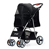 comiga Pet Stroller for Dog & Cat - Four-Wheel Easy Foldable Travel Stroller for Puppy - Kitten - Waterproof Pet Carrier with Storage Basket - Up to 33.06 lbs - Black