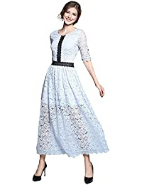 b6d5036146 Women s Vintage Floral Hollow Out Lace Party Long Dress
