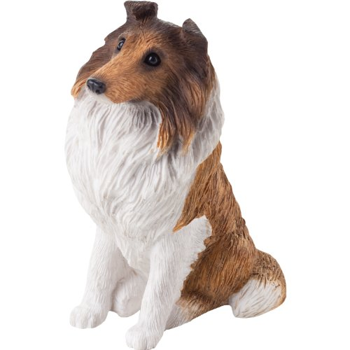 Sable Collie Figurine (Sandicast Small Size Sable and White Collie Sculpture, Sitting)