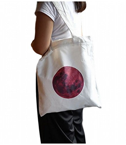 POJ Red Moon Pattern Canvas Shoulder Bag Japanese Flag Style [ Color White ] (Cosplay Store Near Me)