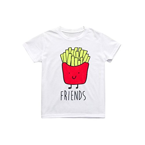 CSSD Kids Children Baby Girls Boys Cute {Hamburgaer}/{French Fries} {Cartoon & Letter Print} Soft T-Shirt Tops Clothes (3T, (Toddler French Fry Costume)
