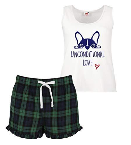 Verde Mujeres Makeover Amor Pijama Corto Limited de Conjunto Frenchie Rojo Azul O con Franc incondicional Second Bulldog 60 Pijama volantes escocesas Snxqa
