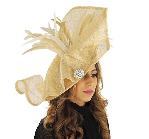 Hats By Cressida Ladies Wedding Races Ascot Derby Fascinator Headband Large Gold by Hats By Cressida
