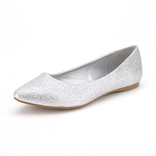 DREAM PAIRS Sole Classic Women's Casual Pointed Toe Ballet Comfort Soft Slip On Flats Shoes Silver Glitter Size (Silver Glitter Ballet Flats)