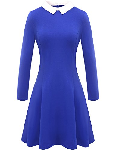 Aphratti Women's Long Sleeve Casual Peter Pan Collar Flare Dress Blue -
