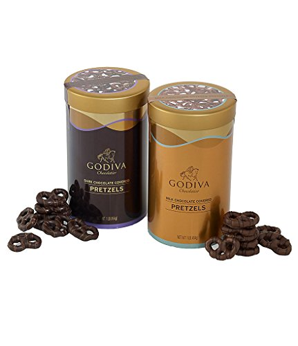 Godiva Chocolatier Chocolate Covered Pretzel Variety Pack, Holiday Gift Set, Milk & Dark Chocolate, 1lb each