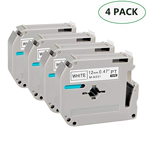 M Tape - MK231 M231 12mm Label Tape, Used on Brother P Touch PT-90 PT-M95 PTM95M PT-70SR PT-80 PT-70BM PT-70 PT-55BM Label Maker Tape, Black on White, 0.47 in x 26.2 ft/(12mm) X (8m), 4 Pack
