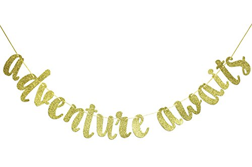 Firefairy Adventure Awaits Gold Glitter Banner , Graduation Banner , College Graduation High School Graduation Grad Banner