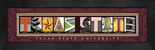 (Prints Charming Letter Art Framed Print, Texas State University-Texas State, Bold Color Border)