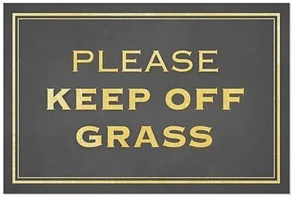 Please Keep Off Grass 5-Pack 30x20 Classic Gold Clear Window Cling CGSignLab