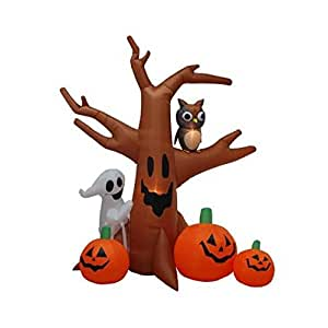 8' Airblown Inflatable Ghost Tree Lighted Halloween Yard Art Decoration