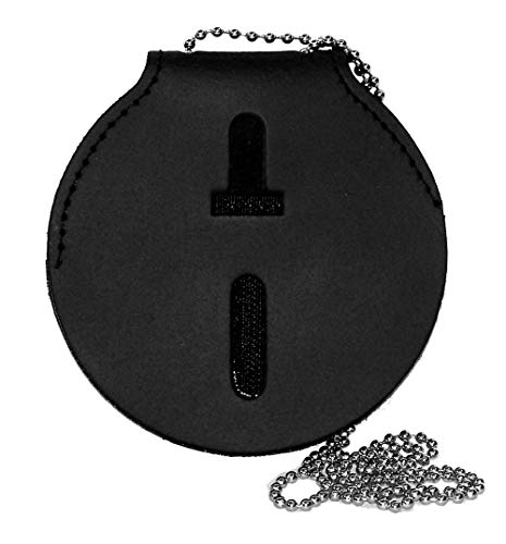 (Large 3-7/8 Inch Diameter Round Universal Badge Belt Clip with Chain)