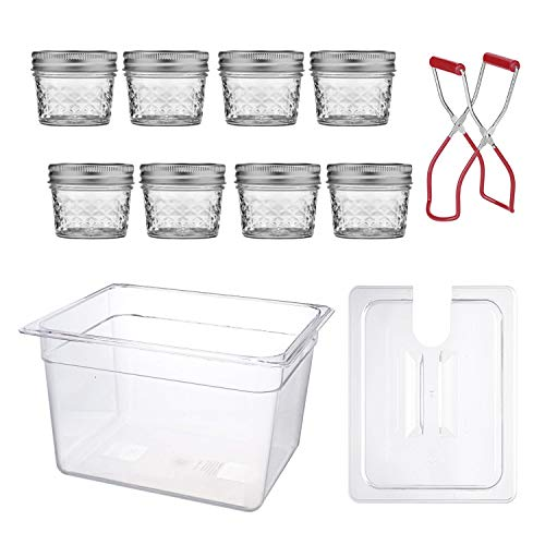 Sous Vide Egg Bites Mold Kit - 8 Sous Vide Jars (4 Oz, Glass), Sous Vide Container with Lid (12 Quart) and Jar Lifter for Sous Vide Mason jars | Lid Opening for Anova or Joule Precision Cookers (Best Creme Fraiche Recipe)