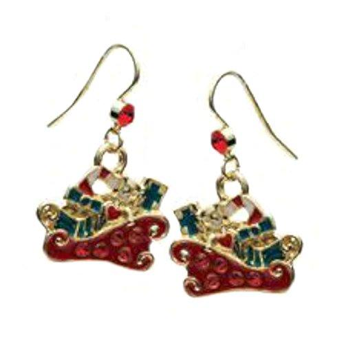 Santa's Sleigh w/Presents Christmas Holiday Theme Dangle Earrings with Gift Box
