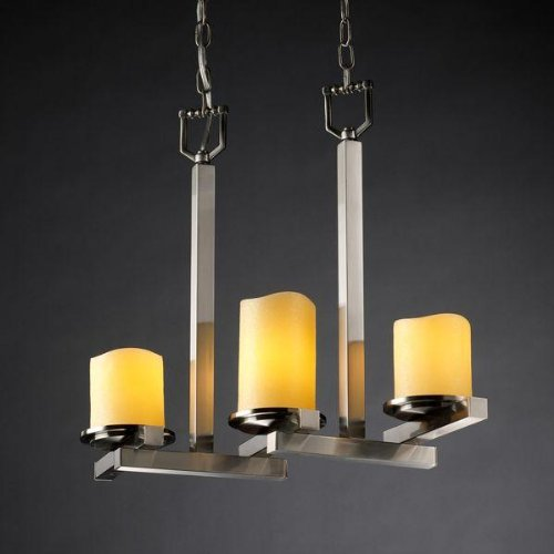 Justice Design Group CandleAria 3-Light Chandelier - Brushed Nickel Finish with Amber Faux Candle Resin Shade - Candlearia Chandelier