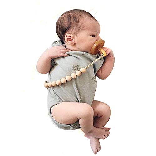 Hacloser Baby Pacifier Holder Clip, Natural Wooden Beads Nursing Teether Dummy Chain Gift for Infant Kids (14mm/0.55-B)