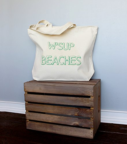 Wsup Beaches Extra Large Tote Bag In Natural Color