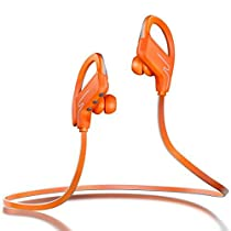 Sound One SP-6 Bluetooth Runner Sport HiFi Stereo Sweatproof Earphones with Mic and Earhook (Orange)