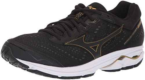 Mizuno Men's Wave Rider 22 Running Shoe, Black/Gold, 10.5 D US ()