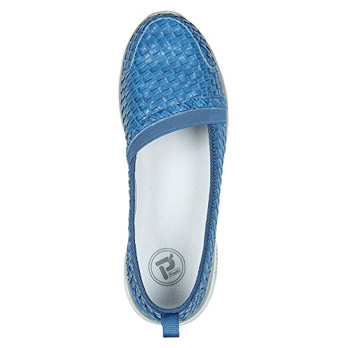 Slip Donna Travellite Slip On Tessuto In Poliuretano, Eva, Sneakers In Gomma Blu Oceano Intrecciate