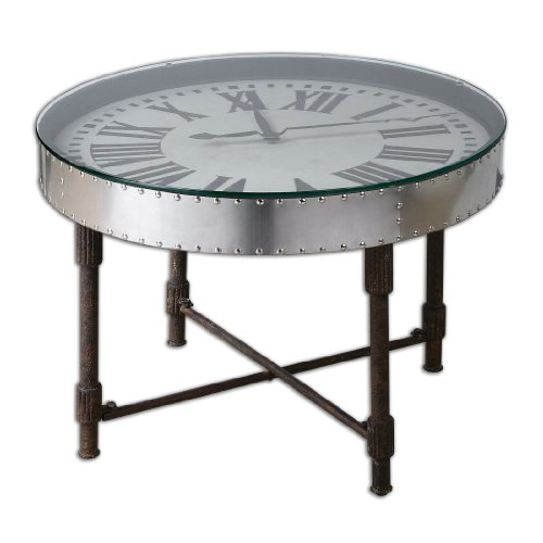 Uttermost 24321 Cassem Clock Table, Silver