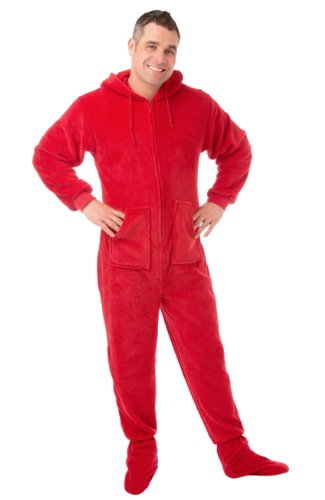 Hoodie Footed Red Plush Drop-seat Pajamas (M) (Red Footed Pajamas For Adults With Drop Seat)