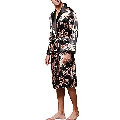 ONAMANO Men's Satin Robe Dragon Luxurious Silk Spa Long Sleeve House Kimono Bathrobe
