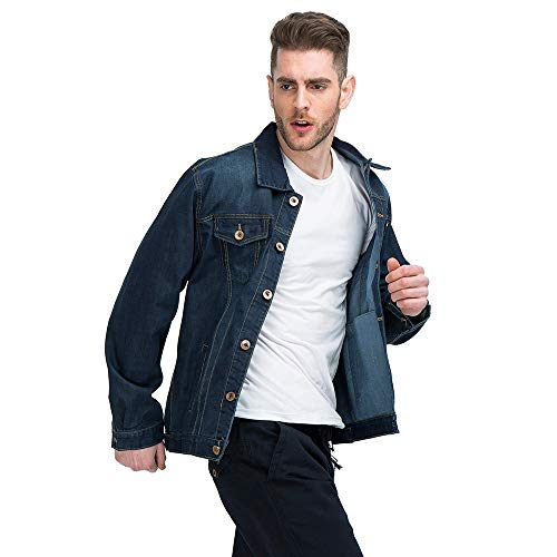 XFentech Tooling Jacket Jacket Blue Men's Size Denim Coat Denim Retro Outwear Large 4w64rqAY