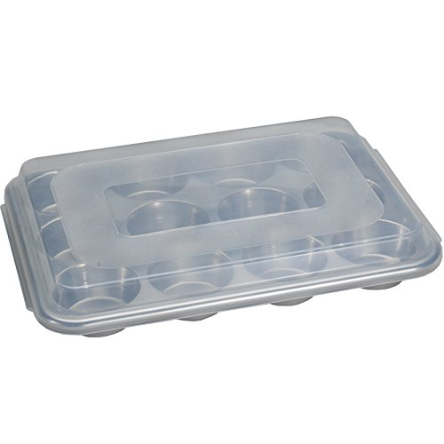 Nordic Ware Natural Aluminum Commercial Muffin Pan with Lid, 12 Cup (12 Cup Muffin Pan)