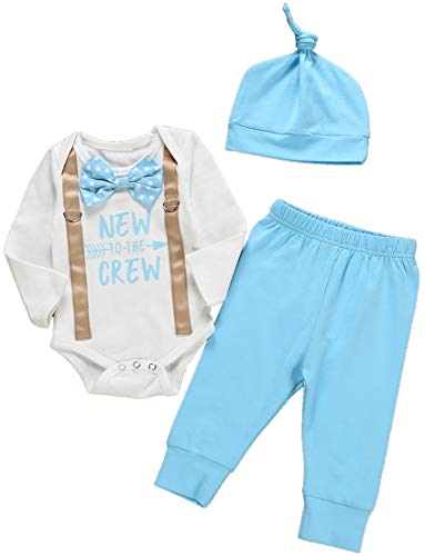 Newborn Baby Boy 3pcs Clothes Set New to The Crew Letter Print Long Sleeve Romper+Long Pant+Hat9-12Months Blue