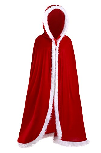 Deluxe Mrs Santa Costume (Women's Christmas Costume Cloak Mrs Santa Claus Deluxe Velet Cardigan Hooded Cape L 59.1