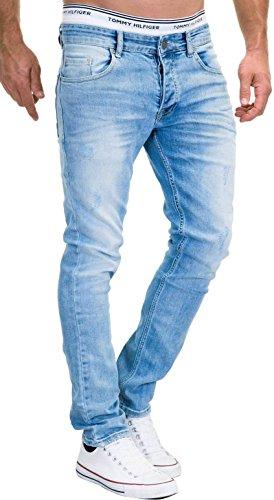 Uomo J9156 Jeans Merish Cuciture Hellblau In Distrutto Sguardo Modell Colorato Pantaloni aw77SxB