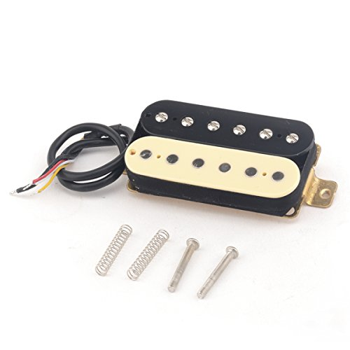 (Musiclily Pro 52mm Alnico 5 Humbucker Bridge Pickups for Strat Les Paul Electric Guitar, Zebra)