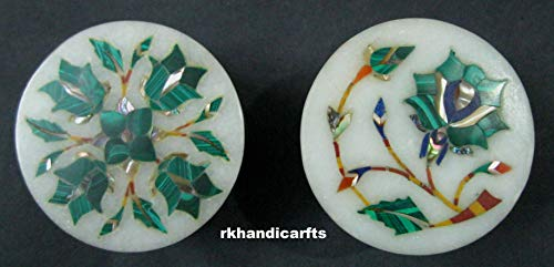 Round Marble 2 Pair of Piece Ring Box Bangle Box Pin Box Malachite Semi Precious Stone with Floral Design Inlay Art Work Handmade from India 2.5 Inches Diameter from rkhandicrafts