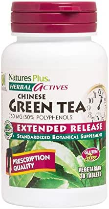 NaturesPlus Herbal Actives Chinese Green Tea, Extended Release - 750 mg, 30 VegetarianTablets - Nutritional Support for Free-Radical Defense & Overall Well-Being - Gluten-Free - 30 Servings