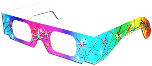 3D July 4th Fireworks Glasses w/Rainbow Frames -Pattern Diffraction Lenses-Pack of 25
