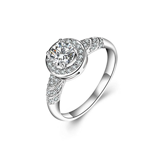 Mrsrui Womens Eternity Rings Cubic Zirconia Wedding Engagement Band Birthday Gift by Mrsrui
