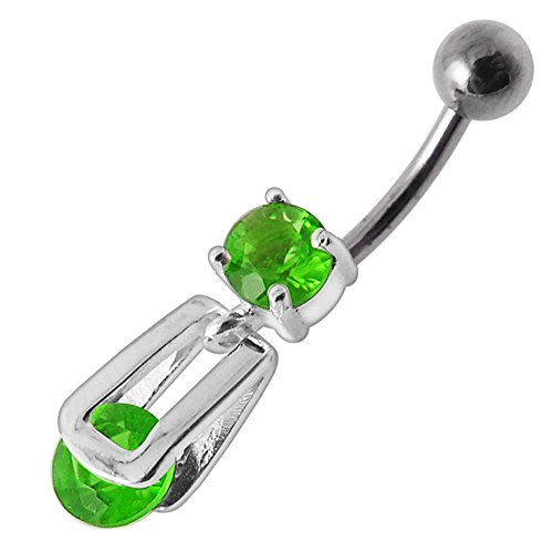 Peridot Green CZ Stone Clip on Round Gems Dangling Design 925 Sterling Silver Belly Button Piercing Ring (Dangling Peridot Belly Button Ring)