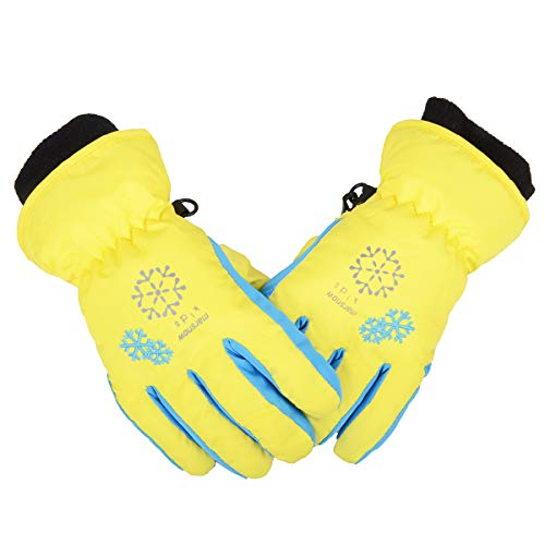 Triwonder Ski Snowboard Gloves for Kids - Waterproof Winter Warm Gloves Thermal Fleece Snow Gloves (S, Yellow)