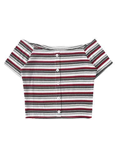 SweatyRocks Women's Short Sleeve Off Shoulder Rib Knit Striped Crop Tee Top Multicolor S ()
