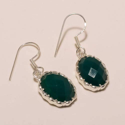 925 Solid Sterling Silver Natural Faceted Cut Green Onyx Hook Earring S00867