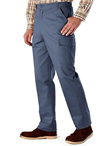 Coton De Hommes Cargo Combat Côté Élastiquée Pantalon De Travail Bleu 86cm x 79cm