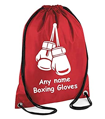 BOXING GLOVES Personalised Drawstring Bag great for school Gym PE Swimming Judo Dance Gift